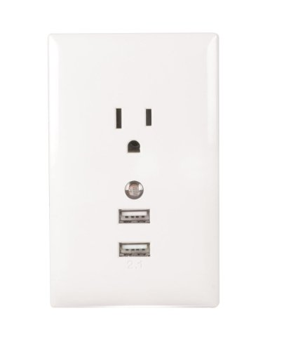 RCA WP2UNLWF USB Wall Plate with Night Light - White