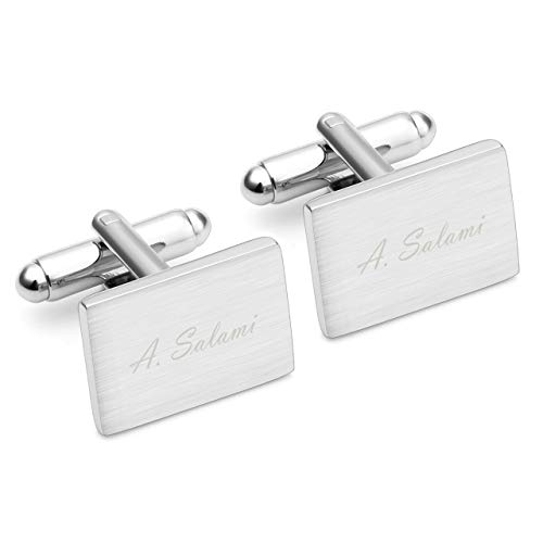 Jovivi Personalized Custom Mens Classic Engraved Initial Cufflinks Alphabet Letter Stainless Steel Cufflinks Formal Business Wedding Shirts