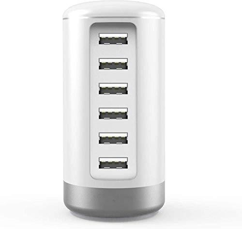 Peine Cargador USB Cargador de Red USB Estaciones de Carga USB de 6 Puertos con Enchufe del Reino Unido Mains iSmart Tower Charge para tabletas, teléfonos Inteligentes y Otros Dispositivos-Blan