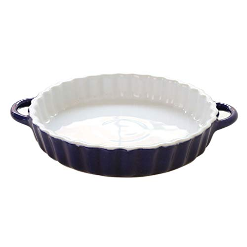 wantanshopping Baking Dish Cheese Bakeware Round Ceramic Bakeware Cutlery Dish Creative Home Bakeware Bowl Red Blue Optional Oven Dishes (Color : Blue)