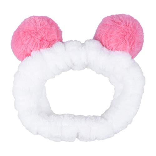 Minkissy bandeau de maquillage bande de cheveux élastique douce avec des oreilles belle enveloppement de la tête en peluche pour spa laver visage douche (melon d'eau rouge)