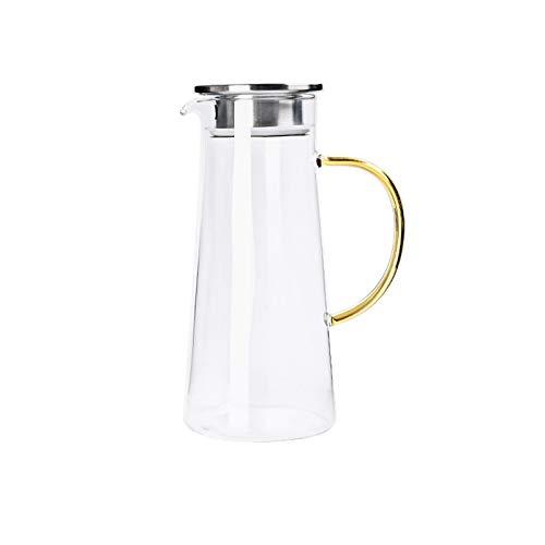 Brocca per acqua con coperchio filtrato, 1400 ml, in vetro per caraffe d'acqua, per bevande calde e succhi di tè, frigo e stufa.
