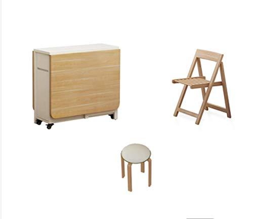 HMCL Mesa de comedor plegable móvil, 2-6 personas retráctil rectangular multifunción mesa, hay 4 taburetes y 2 estantes de almacenamiento, para espacios pequeños, Casnan