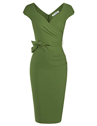 MUXXN Ladies Olive Cute Cap Sleeves Sheath Ruched Semi Formal Office Pencil Dress (Olive Green L)