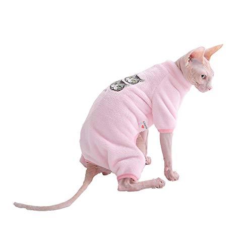 HCYD Sphinx Katze Winter Baumwolle Jacke rosa Katze Kleidung warme Baby Katze Kleidung, pink, S