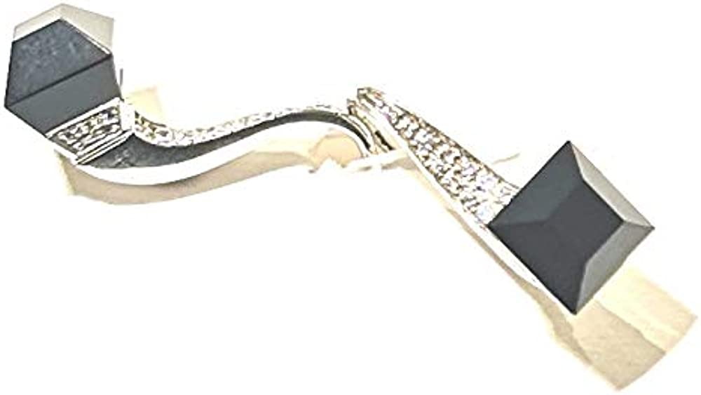 Gucci, orecchini per donna a forma di chiodo, in oro bianco 750/18kt,  con diamanti e onice, peso 7,30 gr 177_087