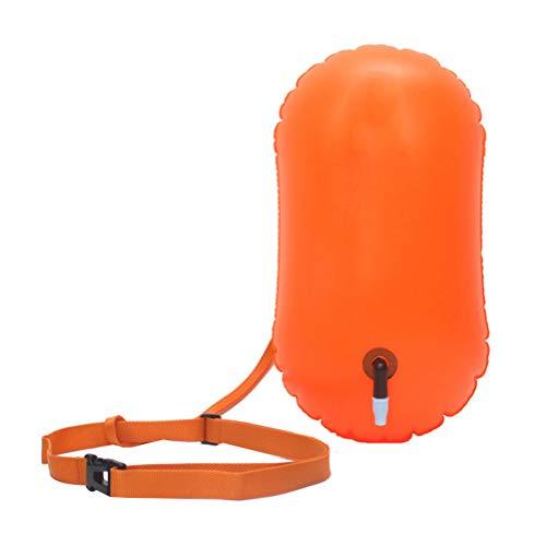 ABOOFAN Ultraligero seguridad flotador seco bolsa inflable agua abierta boya para nadadores triatletas buceadores surfistas (naranja)