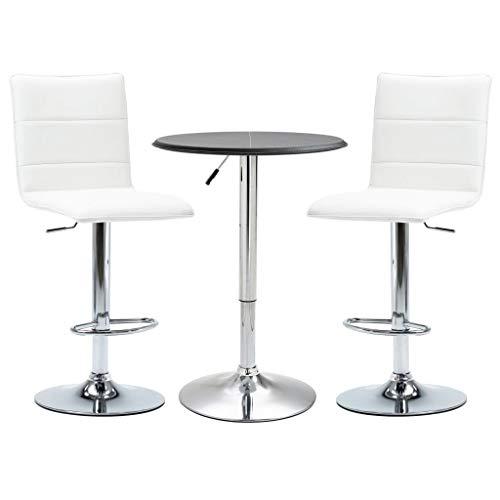 vidaXL 3 Piece Bar Set Pub Table and Chairs Bistro Furniture Restaurant Kitchen Garden Faux Leather Black