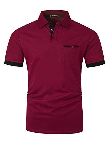 GHYUGR Hombre Polos Manga Corta con Bolsillo Real Elegante Colores de Contraste Camisa Golf Verano Tops Trabajo Camisetas,Rojo Vino,L