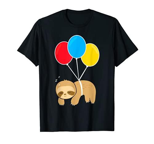 Süßes Faultier - Schlafendes Faultier mit Luftballons T-Shirt
