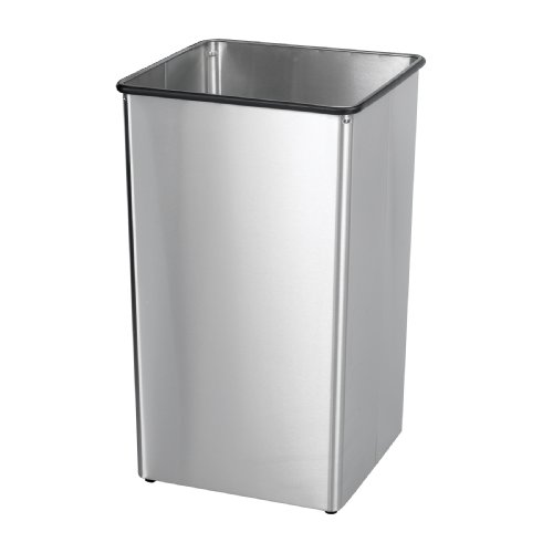 Safco Products 9663SS Stainless Steel 36-Gallon Trash Can Base for Push Top Lid 9662SS, sold separately, Stainless Steel