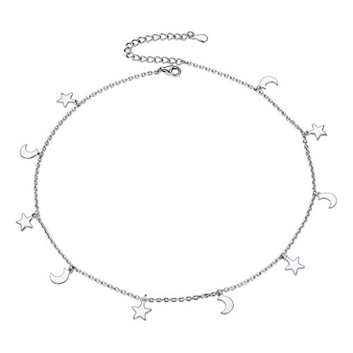 Women Choker Necklace, 925 Sterling Silver Moon Stars Charms Necklace for Women, Girls Choker Jewelry -Silver