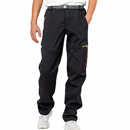 LY4U Pantaloni da Esterno Invernali da Uomo Foderati in Pile Antivento Pantaloni da Sci da Neve Soft...