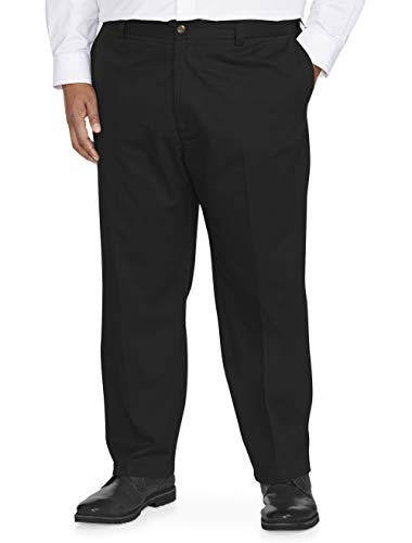 Amazon Essentials Men's Big & Tall Loose-fit Wrinkle-Resistant Flat-Front Chino Pant fit by DXL, Black, 52W x 30L