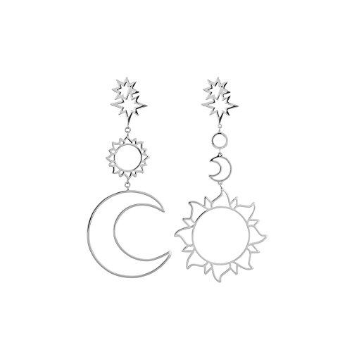 Joyfeel buy Pendientes geométricos para Mujeres aretes asimétrico Pendiente Retro Stud Pendiente con Sol y Luna (Plata / 1 par)