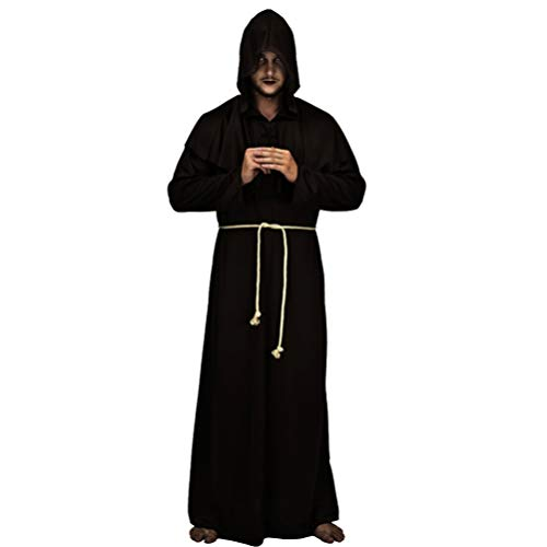 Generic Cabo Halloween Frei Medieval Com Capuz Manto Monge- Renascimento Do Padre Manto Túnica Traje para O Traje de Cosplay Do Partido Unisex- Tamanho M ( Preto )