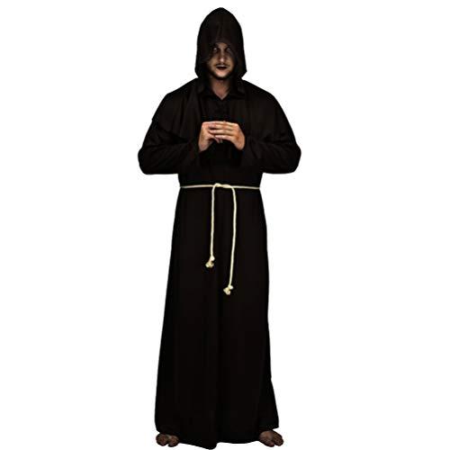 Holibanna Traje medieval con capucha de monje - Cabo de sacerdote renacentista para Halloween, frail, traje de túnica para disfraz de fiesta de cosplay, unisex, talla M (Negro)