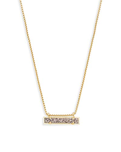 Kendra Scott Leanor Adjustable Length Bar Pendant Necklace for Women, Fashion Jewelry, 14k Gold-Plated, Platinum Drusy