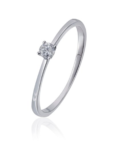 Goldmaid Damen-Ring Solitär Verlobungsring 585 Weißgold 1 Brillant 0,10 ct. Gr. 56 So R6169WG56 Ehering Trauring Schmuck
