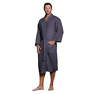 Turquaz Linen Lightweight Long Waffle Kimono Unisex Spa Robe (One Size, Charcoal)