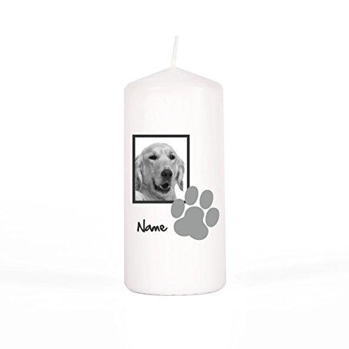 private grief Gedenkkerze mit Foto des verstorbenen Hundes