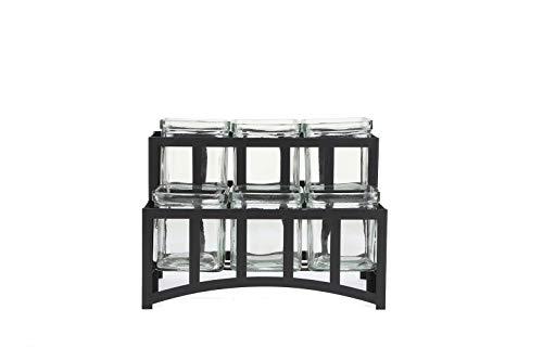 Mind Reader CONJAR6-BLK 2 Tier Condiment Server Stand, Garnish Station for Restaurant, Bars, Removable Jars, Black, 10.3' W x 7' H, Clear 6 Compartment