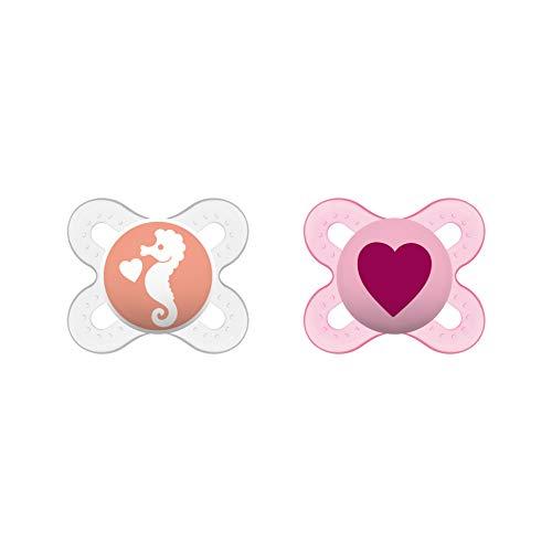 MAM Original Start Schnuller im 2er-Set, speziell für Früh- und Neugeborene, stillfreundlicher Silikonschnuller aus MAM SkinSoft Silikon mit Schnullerbox, 0-2 Monate, Herz/Seepferdchen