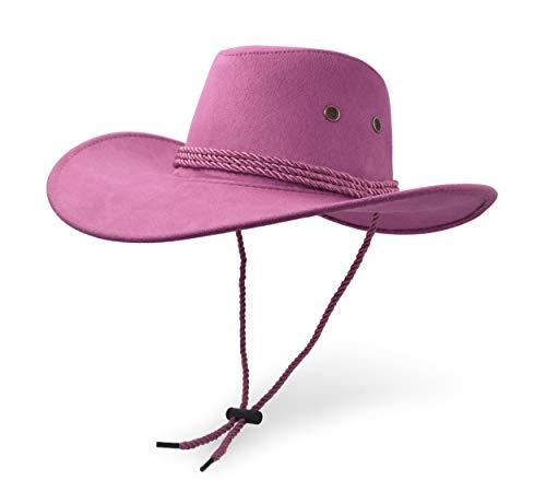 UltraKey Cowboyhut, Sonnenhut, Kunstleder, Wildleder-Reisehut, Westernhut, Sonnenschutz für draußen Gr. Einheitsgröße, rose