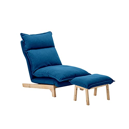 XYJHQEYJ Sofá Cama Sofás Plegables Silla Conjunto de 2 Piezas, Tela de Lino Sofá de Esquina Sillón Sillón reclinable, 5 Engranaje Respaldo Ajustable (Color : Blue)