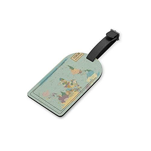 CHEHONG Etiquetas de equipaje PU cuero etiqueta de fondo marino azul nombre ID etiquetas prevenir pérdida bolsa de viaje maleta cubierta de privacidad bolsa bolsa bolsa de equipaje bolso 1 unids