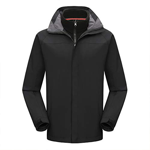 YYNUDA Heren 3-in-1 Jas Waterdichte Outdoor Hooded Jas met Afneembare Inner Fleece Jas