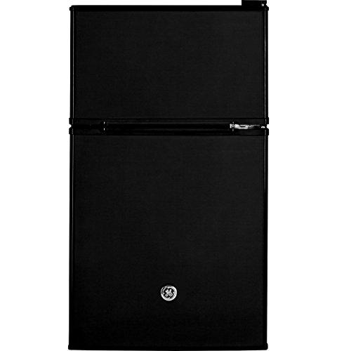 GE Double-Door Mini Fridge, Freezer, 3.1 Cu Ft, Black, GDE03GGKBB Freestanding Compact...