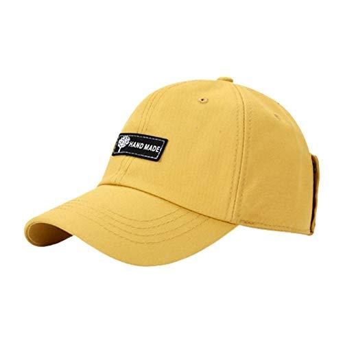 Gorra De Beisbol Cap Gafas De Piloto Unisex Gafas Gorra De Béisbol Harajuku Hip Hop Gafas De Sol Protector Solar Al Aire Libre Sombrero con Pico para Hombres Mujeres Amarillo