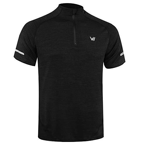 WHCREAT Herren Kurzarm Laufshirt 1/4 Zip T-Shirt Funktionsshirt mit Reflektoren - L