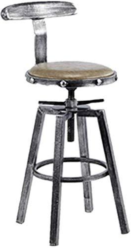 CHAIR Chaise de bar, chaise de loisirs minimaliste rétro fer industriel Art tabouret haut chaise de bar pour restaurant café cuisine salon de coiffure hauteur réglable tabouret de bar dossier décorat