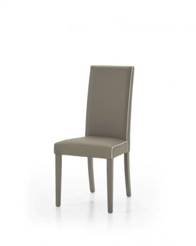 Legno&Design Lot de 2 chaises modernes pour cuisine, salon, bar, rembourré, taupe, cuir synthétique, coutures blanches