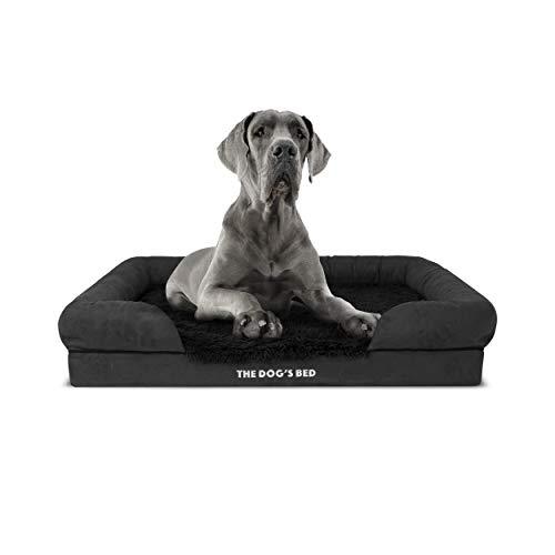 The Dog's Bed Orthopädisches Hundebett, XL, Kunstfell, wasserdicht, Memory-Schaumstoff, Jet Black