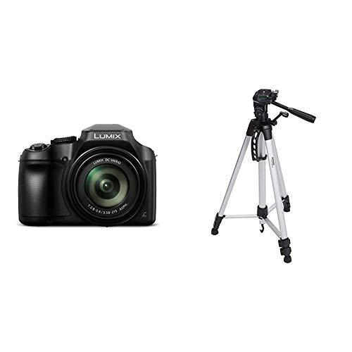 Panasonic Lumix DC-FZ82 Bridgekamera (18 Megapixel, 20 mm Weitwinkel, 60x Opt. Zoom) schwarz & Amazon Basics Leichtes Stativ, bis 1,52 m, inkl. Tasche, mit 3-Wege-Schwenkkopf und Wasserwaage