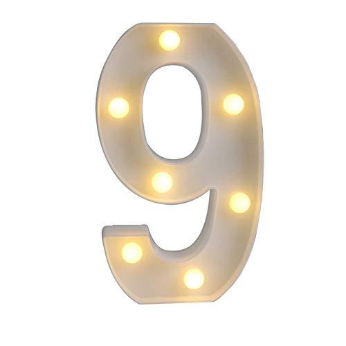 Sunnyglade Luzes de alfabeto de LED com marquesa branca com luzes de números arábicos para festa, decoração de casa, casamento, alfabeto, decoração de parede, letras, luzes, 9