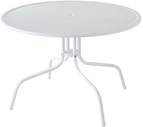 Crosley Furniture Griffith 40-Inch Metal Outdoor Dining Table - Alabaster White