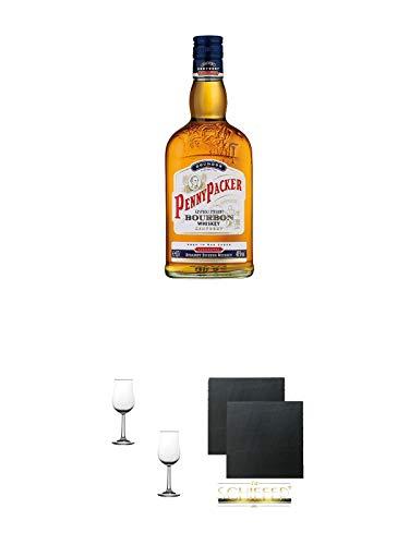 Pennypacker Straight Bourbon Whiskey 0,7 Liter + Nosing Gläser Kelchglas Bugatti mit Eichstrich 2cl und 4cl - 2 Stück + Schiefer Glasuntersetzer eckig ca. 9,5 cm Ø 2 Stück