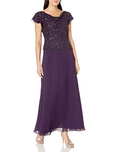 J Kara Women's Petite Long Beaded Cowl Neck Flutter Sleeve Gown Dress, Plum/Shaded, 6P