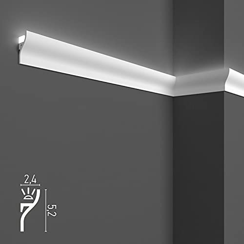 Molduras decorativas de techo y pared (4 metros lineales) para iluminación indirecta con tiras LED | Cornisas decorativas en duropolímero, perfiles de estuco para luz led (4 perfiles de 1 m - KH906)