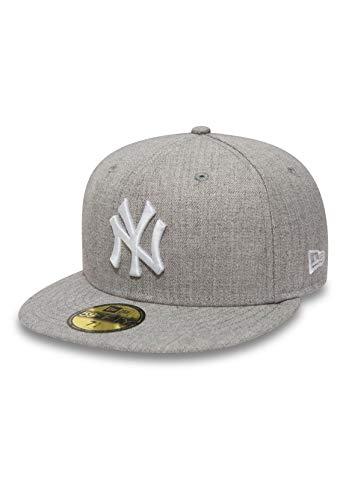New Era MLB Basic 59Fiftys Cap NY Yankees Heather Grey White, Size:7 1/4
