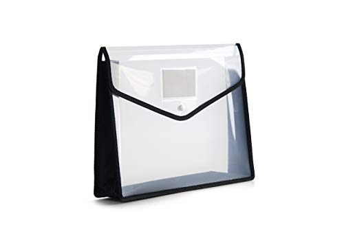 FANWU Plastic File Folder Poly Envelope Expanding File Wallet Document Folder with Snap Button Closure, Legal Size, 5 Pack Large Waterproof Accordion File Pouch (Transparent&Black) Photo #3