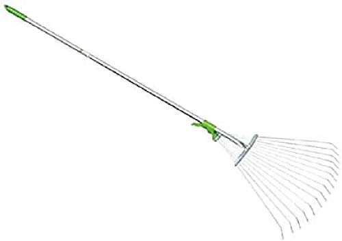 VERDEMAX- Scopa regolabile in metallo per erba e foglie 120cm