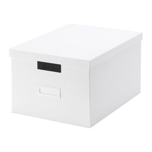 TJENA 27x 35x 20cm A4Größe Zuhause/Büro weiß Aufbewahrungsbox mit Deckel (perfekt für Papiere, Fotos oder anderen Erinnerungsstücken)