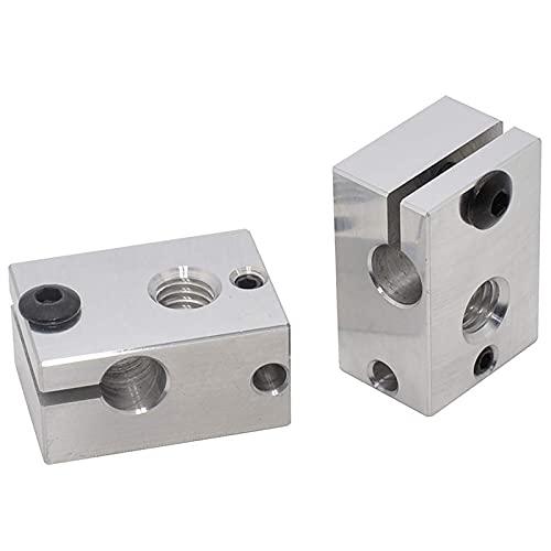 Sonline 2Pcs 3D Printer M6 Aluminum Heater Block for M3 Thermocouple PT100 Cartridge Sensor V6 Hotend Aero Water Cooled