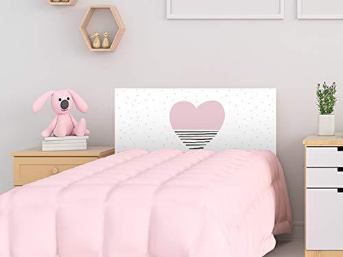 Cabecero Cama PVC Infantil Corazón 100x60cm | Disponible en Varias Medidas | Cabecero Ligero, Elegante, Resistente y Económico