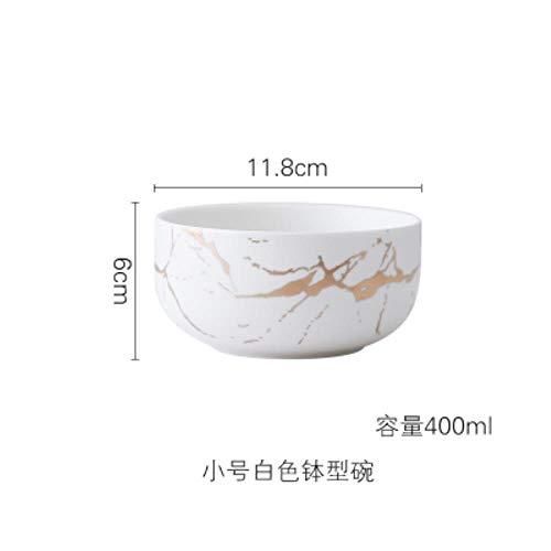 HUACHENG Esmaltes de mármol Dorado Juego de vajilla de Fiesta de cerámica Platos de Desayuno de Porcelana Platos Tazón de Fideos Taza de café Taza para decoración, tazón Blanco de 400 ml
